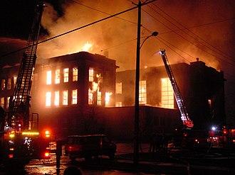 Aberdeen, Washington - The Weatherwax building of Aberdeen High School burned down in 2002.