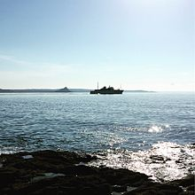 Scillonian ferry leaving Penzance on a sunny day