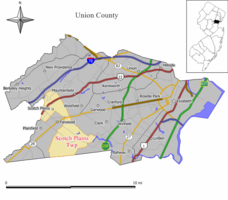 Map of Scotch Plains Township in Union County. Inset: Location of Union County highlighted in the State of New Jersey.