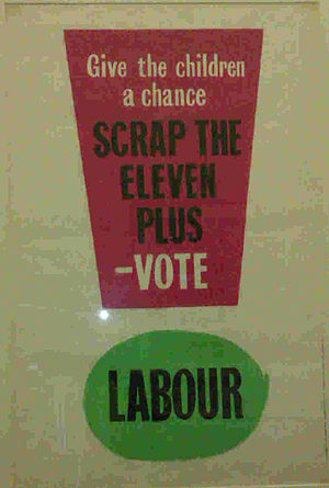 Eleven-plus - Poster on the wall of Labour Party office in Westminster in 2012