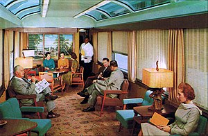 "Silver Meteor - Interior of SAL ""Sun Lounge"" car.  Regular dome cars were too high for the low tunnel clearances on the Northeast Corridor used by SAL trains north of Washington."