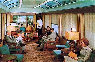 Lounge car - Postcard of a Sun Lounge interior in the 1960s.
