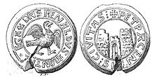 A seal depicting a bird of prey and a fortress