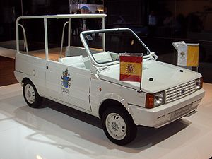 Popemobile - SEAT Panda popemobile used by John Paul II during his visit to Spain in 1982