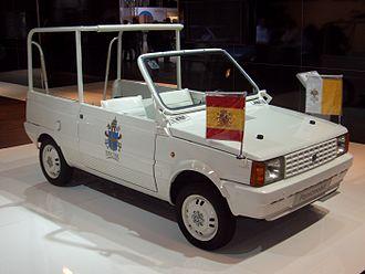 Popemobile - SEAT Panda popemobile used by John Paul II during his visit to Spain in 1982