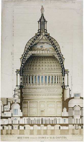 United States Capitol dome - 1859 cross-section drawing of the dome and supporting structure by Thomas U. Walter