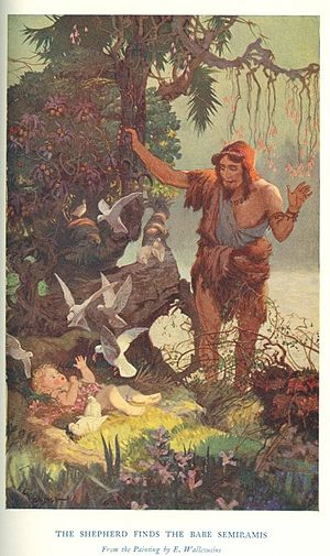 Semiramis - The Shepherd finds the Babe Semiramis by Ernest Wallcousins (1915).