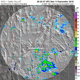 Hurricane Linda (2015) - NEXRAD image at 20:20 UTC (2:20 p.m. MDT) on September 14, depicting a thunderstorm over Hildale, Utah that produced deadly flash floods