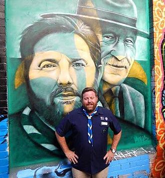 Shane Jacobson - Shane Jacobson, Chief Scout of Victoria, with street art depicting himself and Scouting's founder Lord Baden-Powell