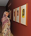 Sheikh Hasina, the Prime Minister of Bangladesh observes Tagore's paintiings at the Asia Society.jpg
