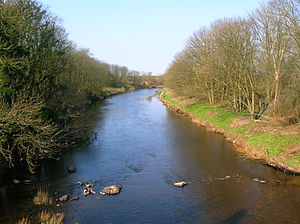 Shewalton House and estate - The River Irvine downstream from the site of the old Shewalton House.