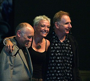 René Auberjonois - Auberjonois (right) with Star Trek: Deep Space Nine co-stars Armin Shimerman (left) and Nana Visitor (center)