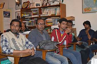 Shobuj Taposh with Bengali Wikipedians at BNWIKI12 celebration in Chittagong (02).jpg