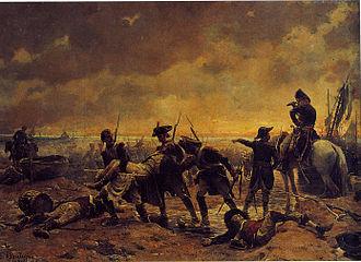 Chouannerie - The battle of Quiberon Un épisode de l'affaire de Quiberon (An Episode of the Quiberon affair), painting by Paul-Émile Boutigny, 19th century.