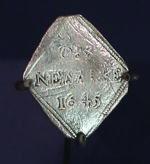Newark-on-Trent - A makeshift royalist shilling (siege piece) made from silver plate during the siege