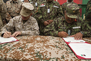 NATO Training Mission-Afghanistan - The Regional Military Training Center South West in Helmand Province, is being transitioned from coalition oversight to ANA. Prior to this, construction, maintenance and mentoring has been done by US, British and Danish forces.