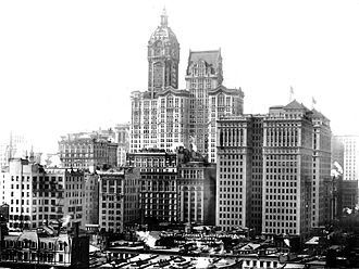 One Liberty Plaza - Predecessors at the site, demolished to make way for One Liberty Plaza: Singer Building (tallest tower in the center of the image) and City Investing Building (second tallest, with slanted roof)