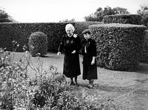 Elizabeth Kenny - Sister Kenny (left) with her secretary in Kenny's garden in Toowoomba, 1952