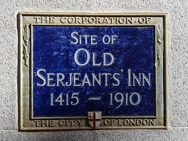 Old Serjeants' Inn, London blue plaque - Site of Old Serjeants' Inn 1415-1910