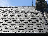 Slate roof at St Beuno's Church, Trefdraeth, nr Bodorgan, Ynys Mon, Wales. 12.jpg