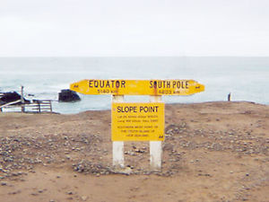 Slope Point - The AA signpost at Slope Point.