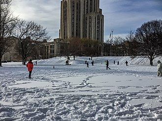 Snowball fight - A large, organized snowball fight on the lawn of the Cathedral of Learning at the University of Pittsburgh in January 2016