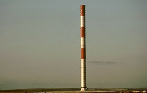 Solar updraft tower - SUT powerplant prototype in Manzanares, Spain, seen from a point 8 km to the South