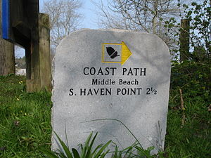 South West Coast Path - South West Coast Path, stone sign near Studland