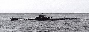 Soviet S-class submarine - Sea trials of S-1. Protection of artillery is clearly visible. Artillery itself had not yet mounted.