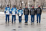 Soyuz MS-12 crew and backup crew during flag-raising ceremony.jpg
