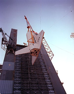 Space Shuttle Pathfinder - The Space Shuttle Orbiter simulator is hoisted into the Saturn V Dynamic Test Stand at NASA's Marshall Space Flight Center.