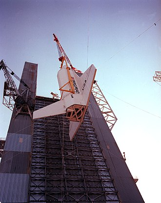 Marshall Space Flight Center - A crane hoists Space Shuttle Pathfinder into the Saturn V Dynamic Test Stand at MSFC to test the procedures in preparation for the dynamic test of Space Shuttle Enterprise.