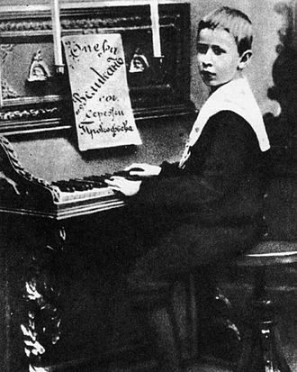 The Giant (opera) - The eight-year-old Prokofiev with the score of his opera, 'The Giant'