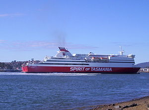 MS Mega Express Four - Spirit of Tasmania III on Mersey River, Devonport.