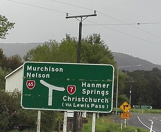 Springs Junction - Approaching the junction from the West Coast along State Highway 7