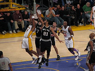 Playoff game between the San Antonio Spurs and the Los Angeles Lakers in 2007 Spurs vs. Lakers.jpg