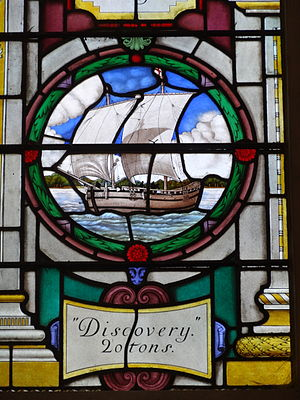 Discovery (1602 ship) - Discovery on Stained glass window in St Sepulchre-without-Newgate