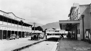 Mossman, Queensland - The heritage protected Exchange Hotel (left) in 1940
