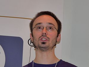 Stefano Zacchiroli speaking at the debconf10 c...