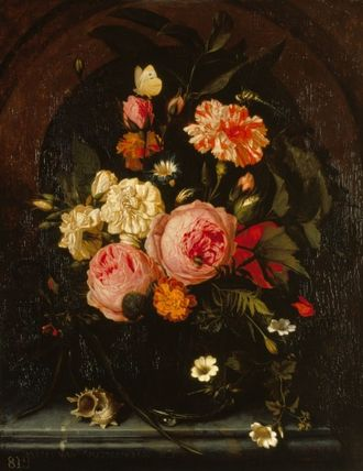Maria van Oosterwijck - Still Life with Flowers, Insects and a Shell, 1689, Royal Collection. Van Oosterwijck's last known painting.