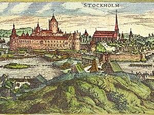 1570 in Sweden - Stockholm-Helgeandsholmen-1570-Hogenberg