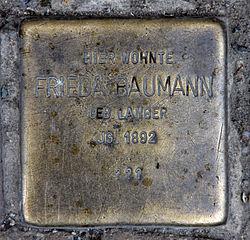 Photo of Frieda Baumann brass plaque