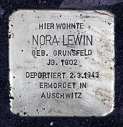 Photo of Nora Lewin brass plaque