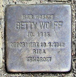 Photo of Betty Wolff brass plaque