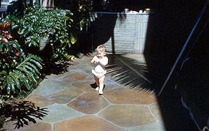 English: Patio with stone tiled floor, Hawaii..
