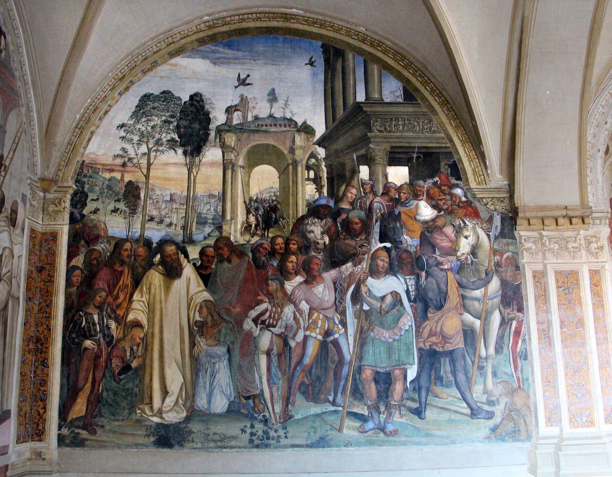 Storie di s. benedetto, 12 sodoma - Come Benedetto riceve li due giovanetti romani Mauro e Placido 01