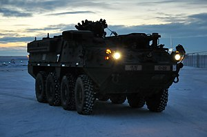 United States Army Alaska - A U.S. Army Alaska Stryker from Bravo Company, 3-21 Infantry Regiment, 1st Stryker Brigade Combat Team during Operation Arctic Pegasus at Deadhorse, Alaska, 3 November 2015.