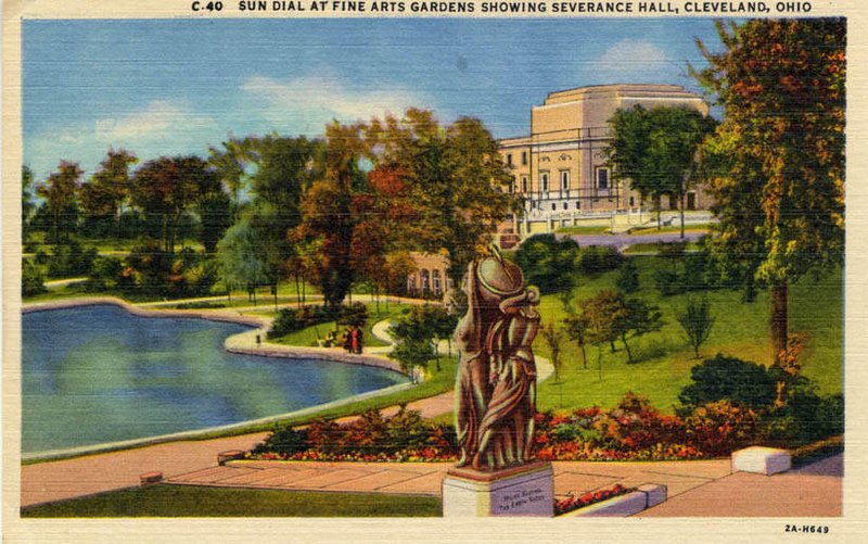 File:Sun Dial at Fine Arts Garden Showing Severance Hall (NBY 3401).jpg