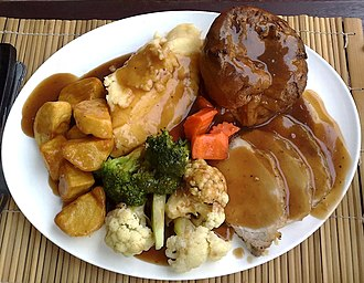 A Yorkshire pudding, served as part of a traditional Sunday roast. Sunday roast-02.jpg