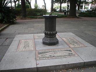 Squares of Savannah, Georgia - The sundial in Johnson Square